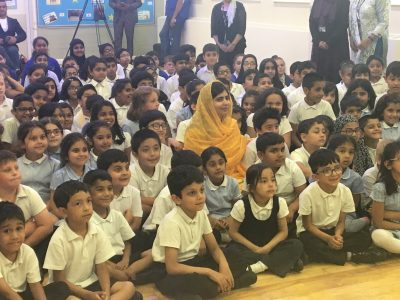 Malala Yousafzai with pupils at Carlton Junior and Infant School